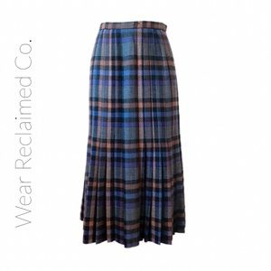 VALENTINO VINTAGE 80's | Pleated Plaid Wool Skirt